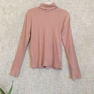 J. Crew Nude Pink Ribbed Thin Turtleneck Sweater